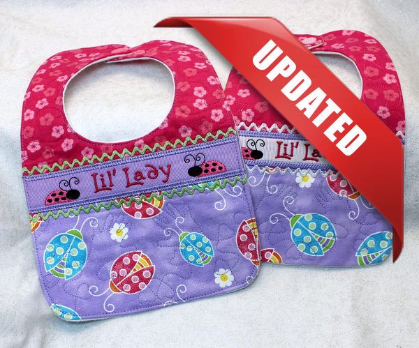 Baby bib with desired motif and name